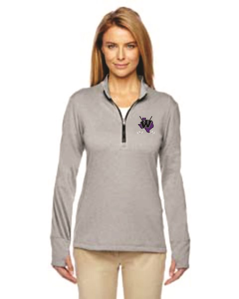 WHS Golf - A275 - Adidas Golf Ladies heather 3 Stripe Quarter Zip