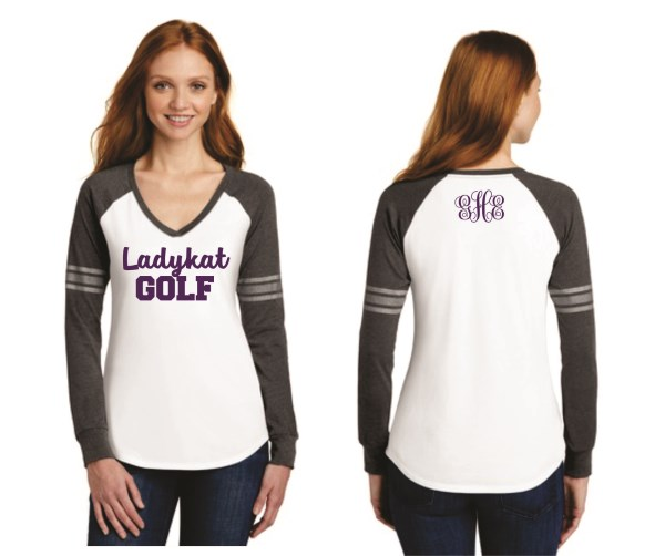 WHS Golf - DM477 - Ladies Game L/S Vneck Tee w/ Stripes