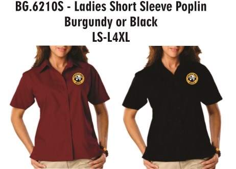 Einstein Bros Bagels - BG6210S - Blue Gen. LADIES Short Sleeve Poplin